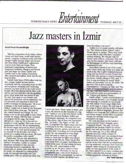 Articolo Turkish Daily News Izmir Gaslini Maggio 2002