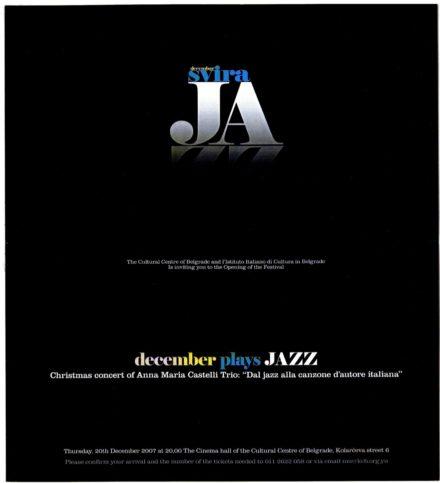 Festival Svira Jazz Depliant Belgrado Dicembre 2007