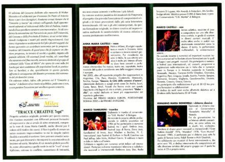 Sala dei Giganti del Liviano Padova Programma di sala Marzo 2005