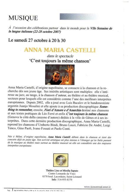Teatro L.Da Vinci Montreal Ottobre 2007
